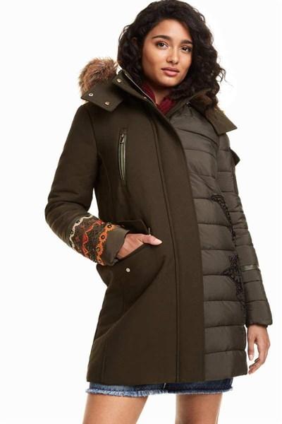 kabát Desigual Monica verde oliva