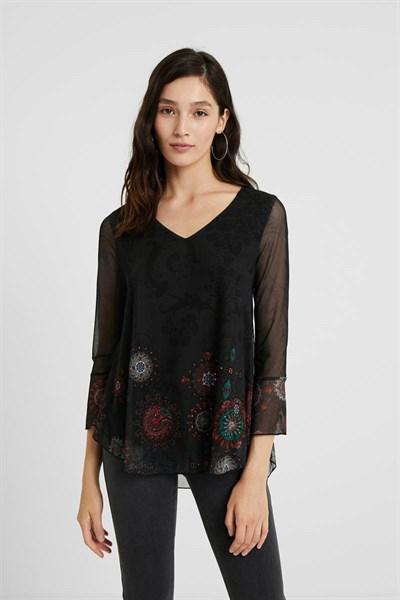 tričko Desigual Brulé negro