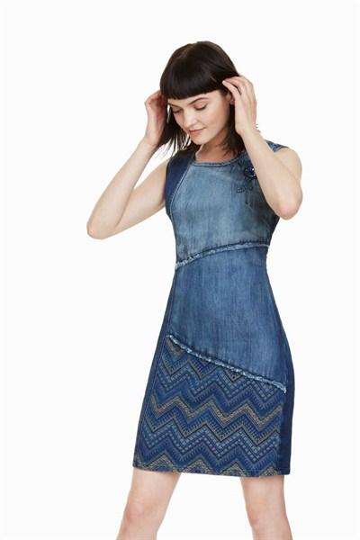 šaty Desigual Elda denim patch
