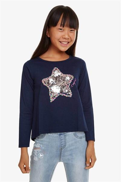 tričko Desigual Ribbon navy