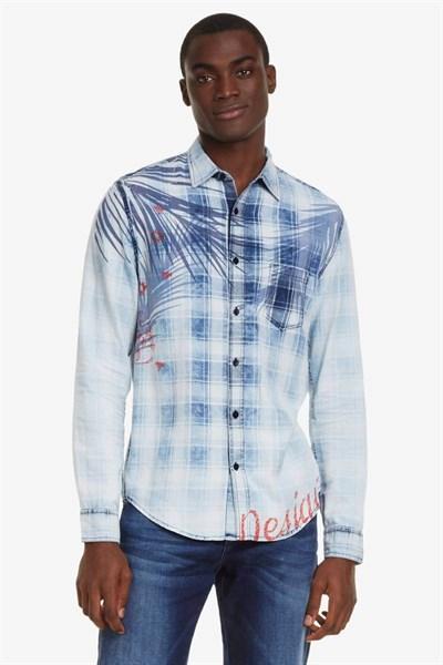 košeľa Desigual Justin azul palo