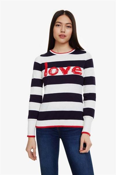 svetr Desigual Love blanco