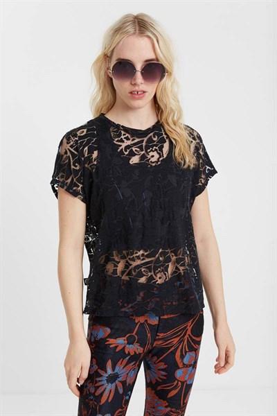 tričko Desigual Devore Black negro