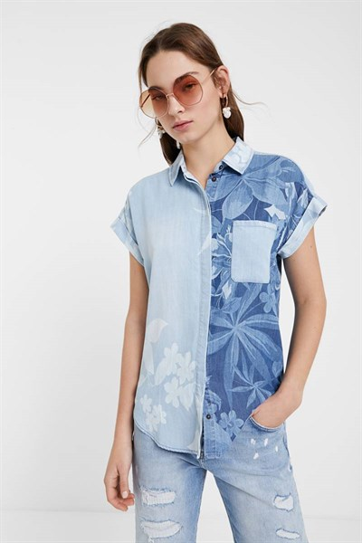 košile Desigual Bluewai denim medium wash