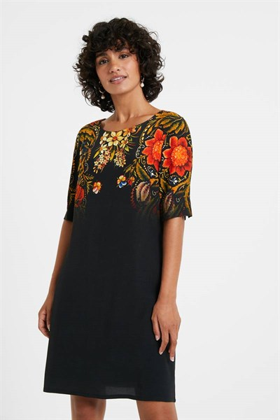 šaty Desigual Butterflower negro