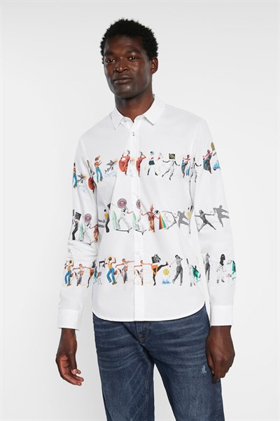 košile Desigual Abel blanco
