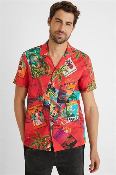 košile Desigual Beron rojo clavel
