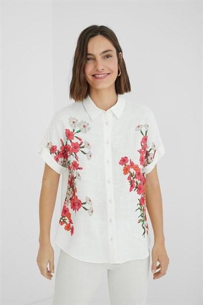 košile Desigual Grisol blanco