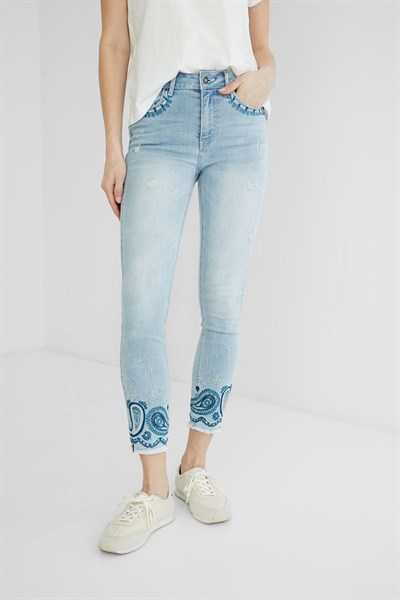 jeansy Desigual Ankle Paisl denim bleach