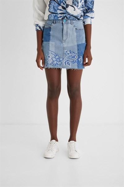 sukně Desigual Be Blue Skirt azul furgon