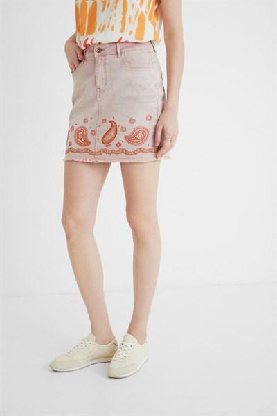 sukně Desigual Billi Jeans rosa palo