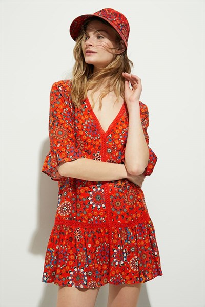 plážová košeľa Desigual Java rojo clavel