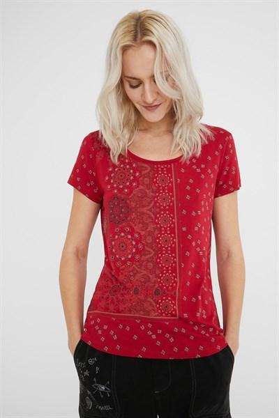 tričko Desigual Estambul borgona