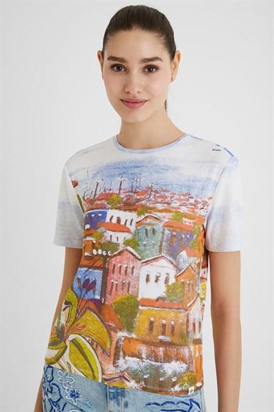 tričko Desigual Skyline blanco