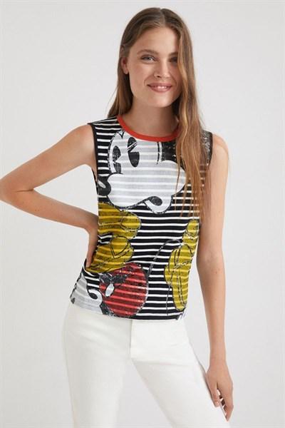 tričko Desigual Mickey Rayas blanco