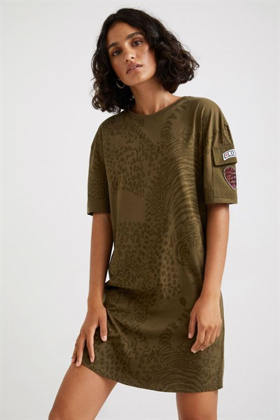 šaty Desigual Naina caqui