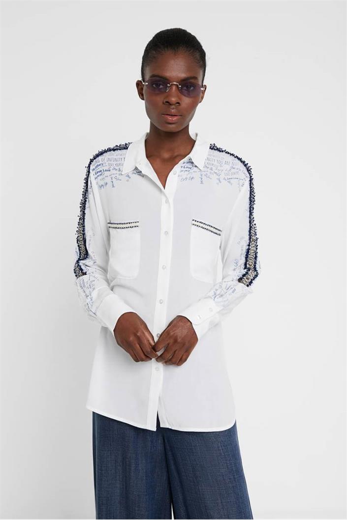 košile Desigual Hamburgo blanco