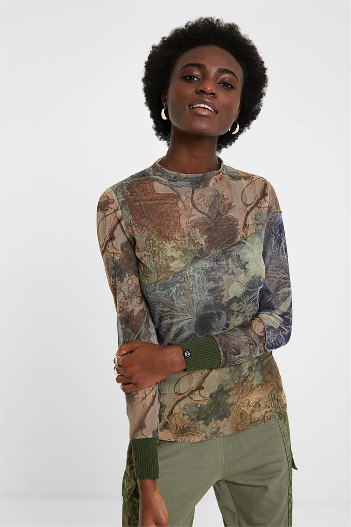 tričko Desigual Chatte deep lichen green
