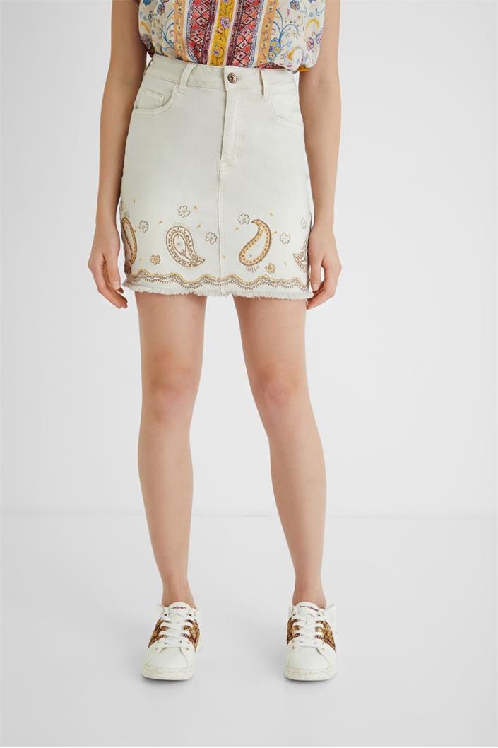 sukně Desigual Billi Jeans blanco nieve