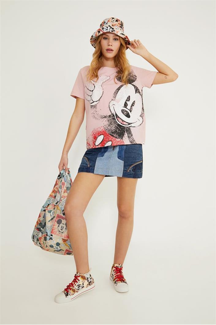tričko Desigual Ok Mickey candy pink