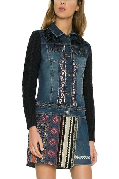 bunda Desigual Ruffle denim medium dark