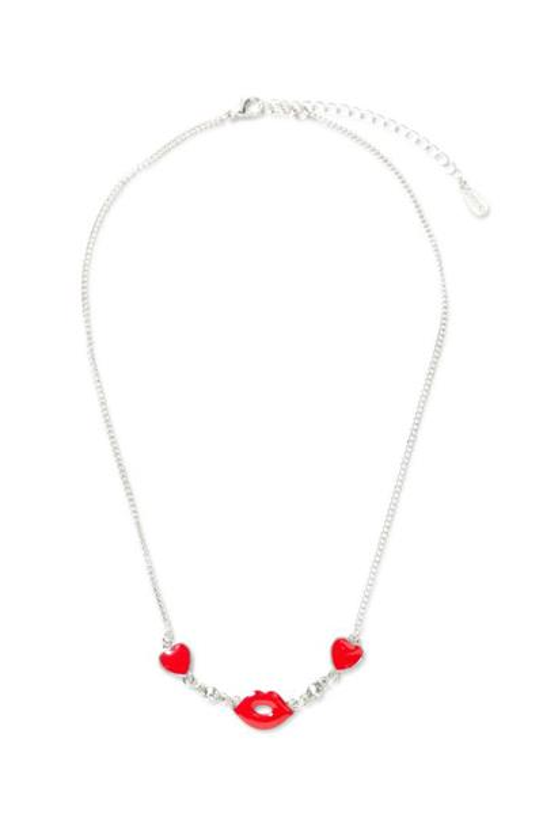 náhrdelník Desigual Collar Lips rojo fresa