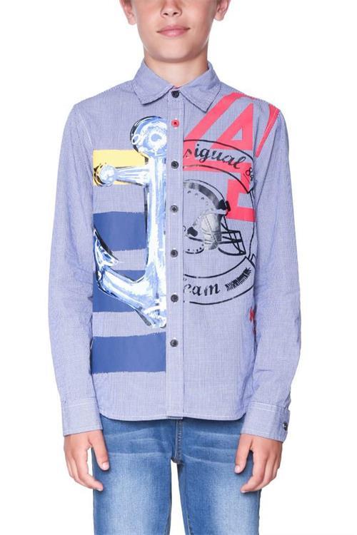 košile Desigual Cam Bambas azul klein