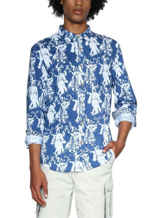 košeľa Desigual Kristo azul artico