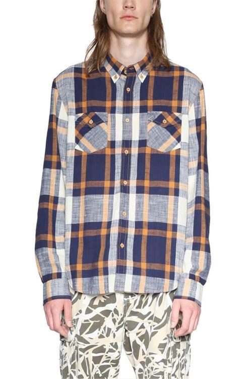 košeľa Desigual Iker azul artico
