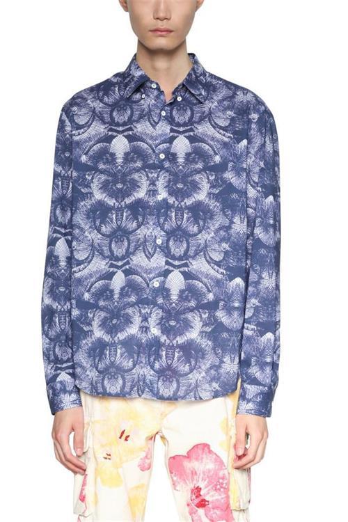 košeľa Desigual Jeffrey azul artico