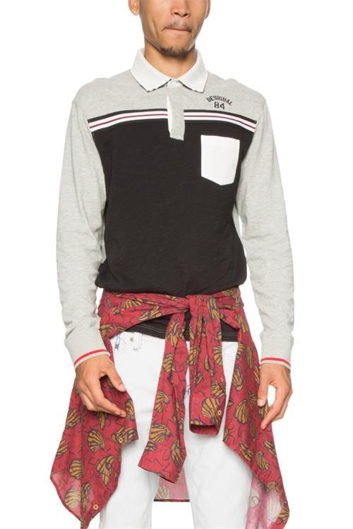 tričko Desigual Polo Ismael gris medio