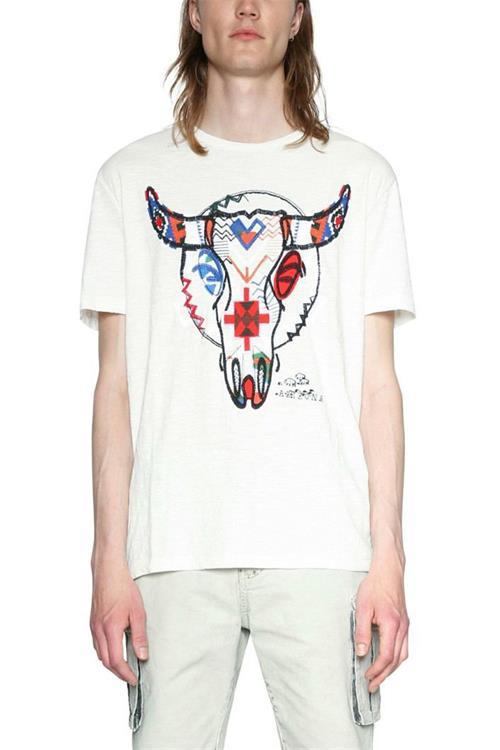 tričko Desigual Berto blanco brillante