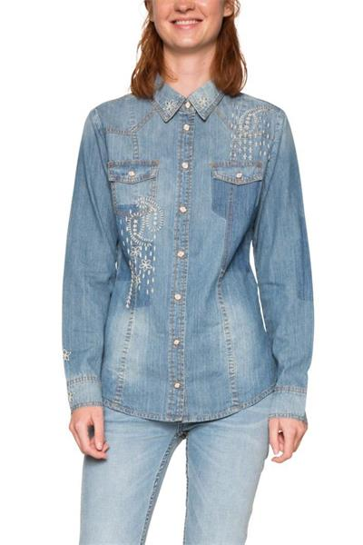 košile Desigual Laetit denim medium light