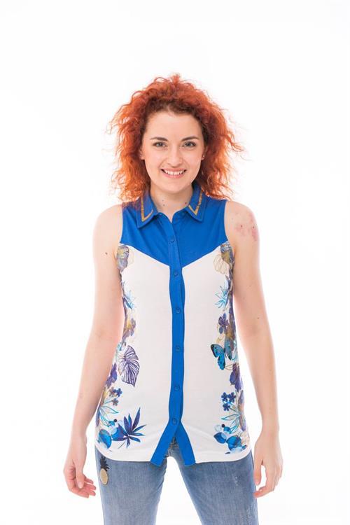 košile Desigual Casilda azul mineral