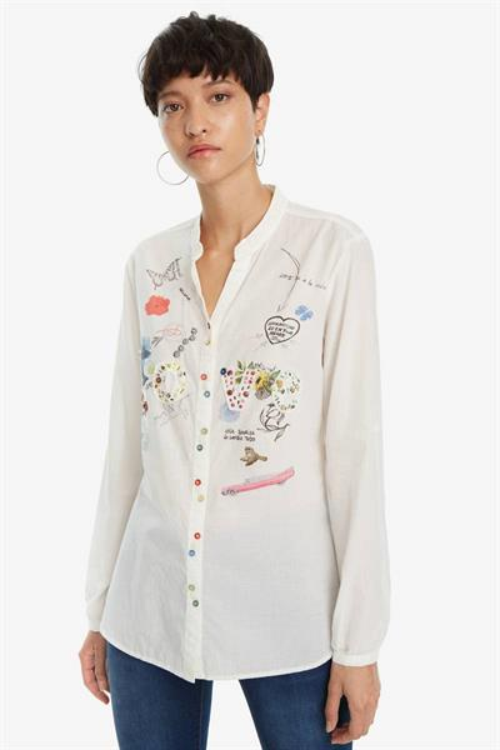 košile Desigual Arrinha blanco