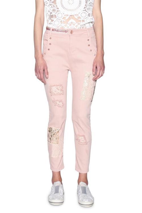 jeansy Desigual Lou rosa palido