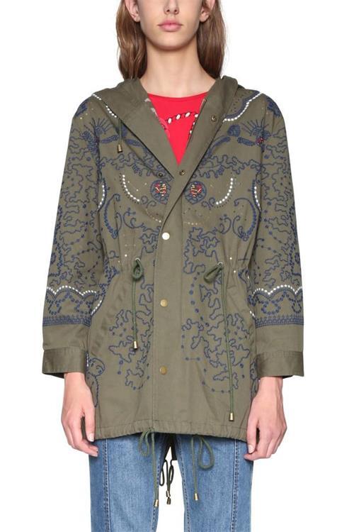 kabát Desigual Abrig Mariette verde militar