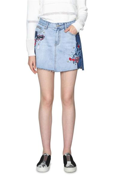 sukňa Desigual Fal Elina denim patch