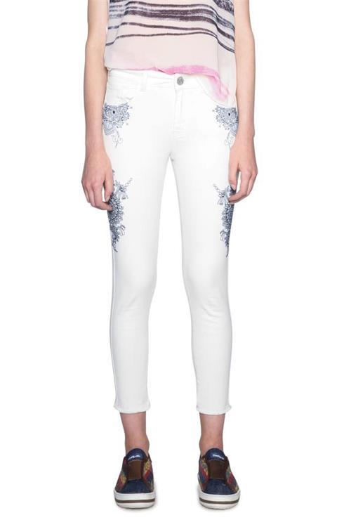 kalhoty Desigual Pant Evens blanco