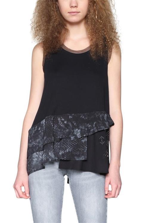 tričko Desigual Calendre negro