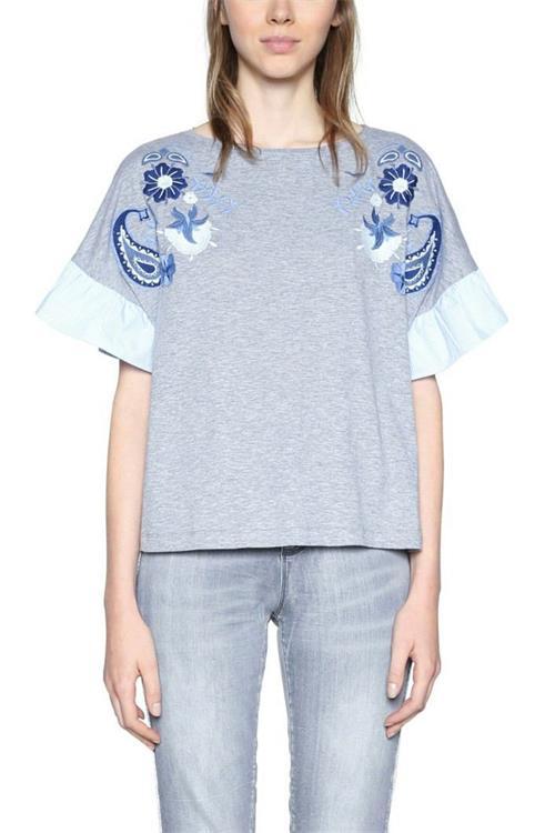 tričko Desigual Cressida gris vigore claro