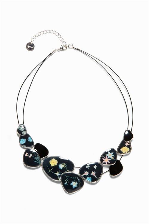 náhrdelník Desigual Romantic Flowers Chapas negro