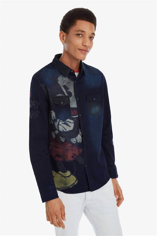 košile Desigual Mickey denim medium wash