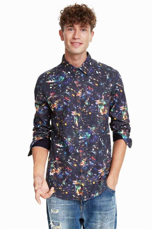 košile Desigual Enrique negro