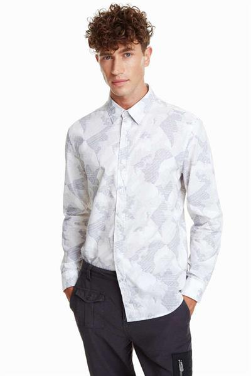 košile Desigual Camo blanco
