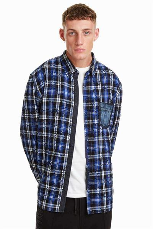 košile Desigual Malcom azul artico