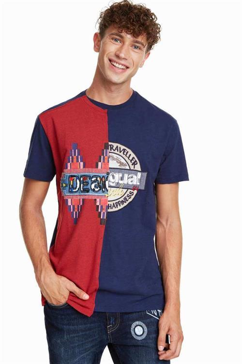 tričko Desigual Mix azul artico