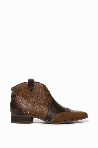 boty Desigual Cowgirl Winter Valkira Ankle chocolate brown
