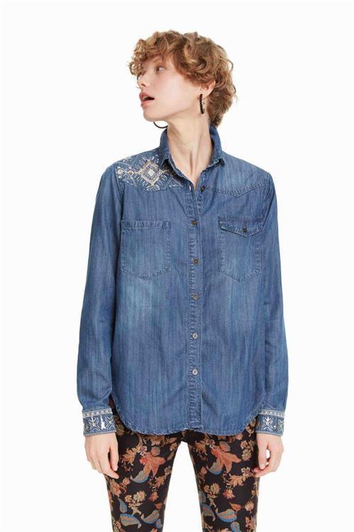 košile Desigual Jean navy