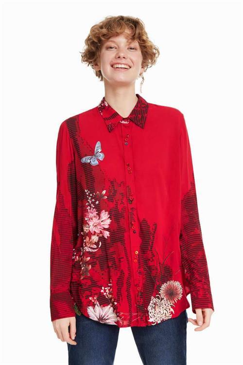košeľa Desigual Fragancy borgona